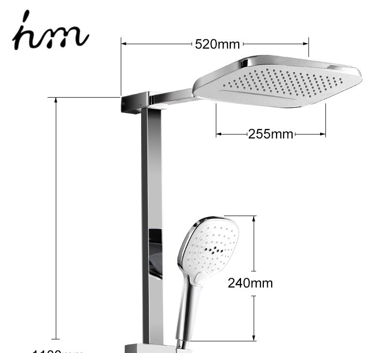 hm Installed Square shower Set Intelligent Digital Temperature Shower Brass Rain Faucet Smart Digital Display Wall Waterfall  (25)