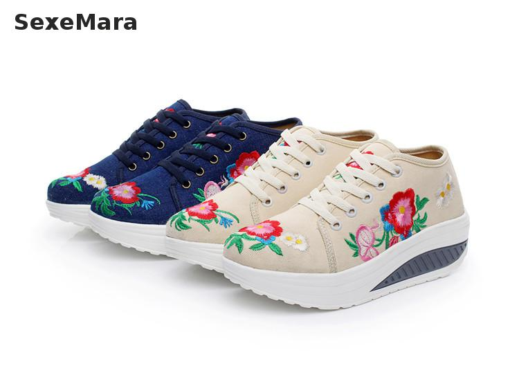 Slimming Canvas Women Fashion Casual Shoes Fitness Lady Swing Shoes Summer Increased Embroidered Shoes
