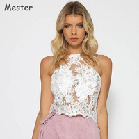Women Floral Embroidery Lace Crop Top Halter Neck Lace Mesh Organza Short Halter Tops Sexy Off