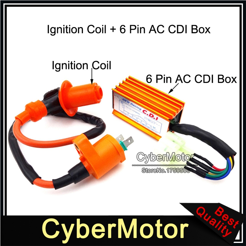 6 Pin Racing CDI Ignition Box with Coil Wire for Most GY6 50-250CC ATV Scooter Moped Go Kart CDI Box