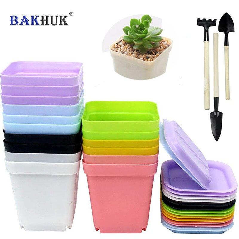Bakhuk 16 шт. Пластик горшки с блюдцем, цветочный горшок, 3 комплекта посадки Инструменты как подарок, 7 цветов