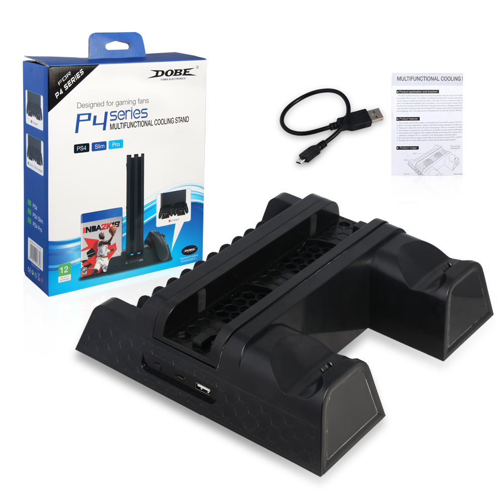 2018 New PS4 Slim / Pro Cooler, Multifunctional Vertical Cooling Stand,Charging Dock,PS4 Controller Charger with LED Indicators