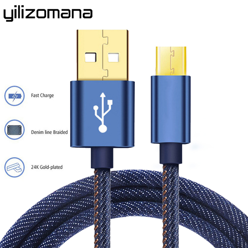 YILIZOMANA Lightning Micro Type C To USB Cable Denim Cowboy Style Data 1.2M Cable For IOS Android
