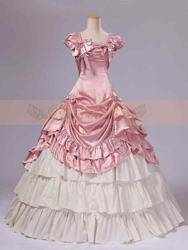 Pink and White Satin Classic Victorian Dress Top Sale Long  Women Dress