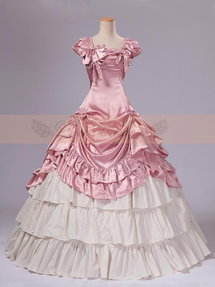 Rose et Blanc Satin Classique Robe Victorienne Top Vente Femmes Longues Robe