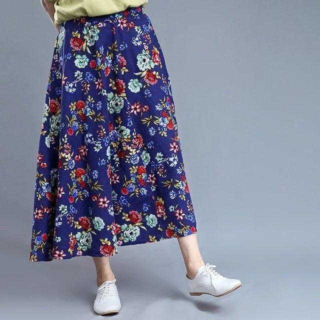 Estilo popular falda de estampado retro flojo ocasional del todo-fósforo falda larga falda de verano 2016