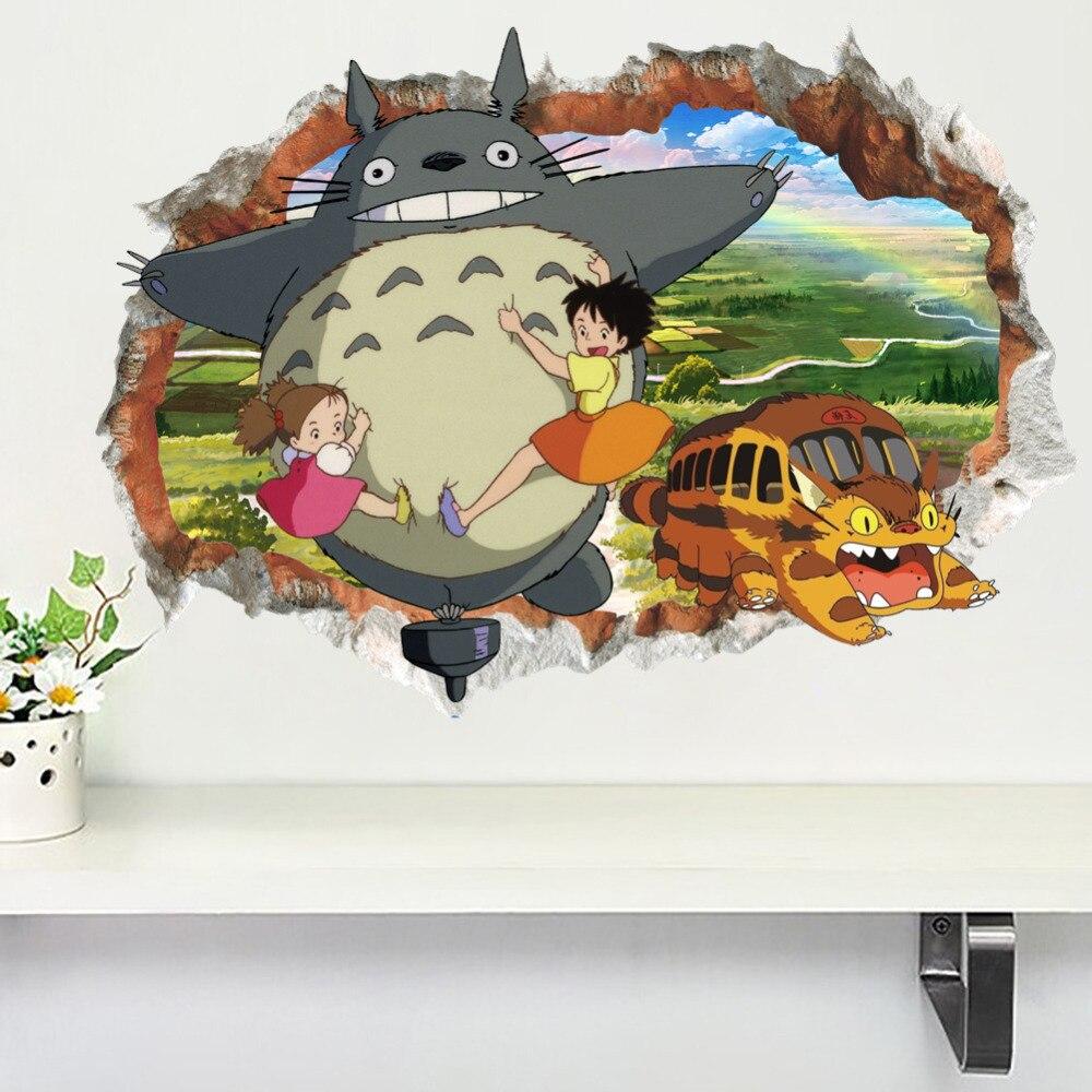 New 3D Hayao Miyazaki Animation Ghibli Totoro Wall Sticker For Kids Room Cartoon My Neighbor Totoro Wallpaper Home Decor