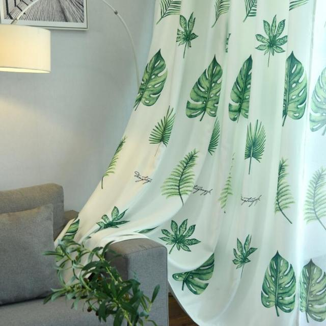 Nordic Palm Printed Blackout Curtains For Living Room Green Leaves Tree Tulle Veil Liner Cortinas
