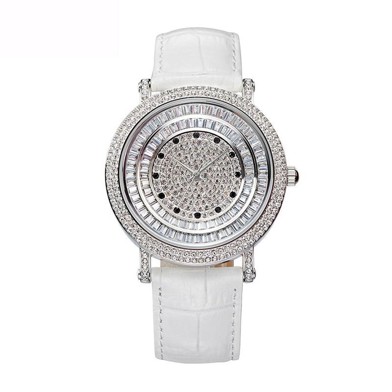 Reloj Mujer Full Diamond Female Quartz Watch Woman Fashion Watch Ladies Leather Bracelet Waterproof Clock Top Brand Luxury Table цена 2017