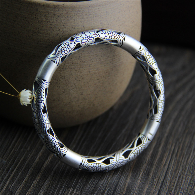 S999 Sterling Silver Bracelet fish lotus hollow retro lady Silver Bracelet s999 fine silver lotus pisces play lady bracelet wholesale sterling silver folk style ways openings