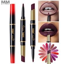 MILEMEI Double End Lipstick Duo Matte Pen 2 in1 Lip Liner Plus Moisturizer Lips Batom Makeup 16 Color