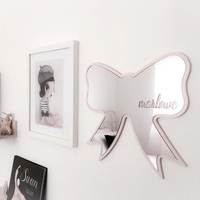 Nordic wooden swan snow mountain butterfly love bat children's room acrlic decorative mirror wall decoration home furnishings