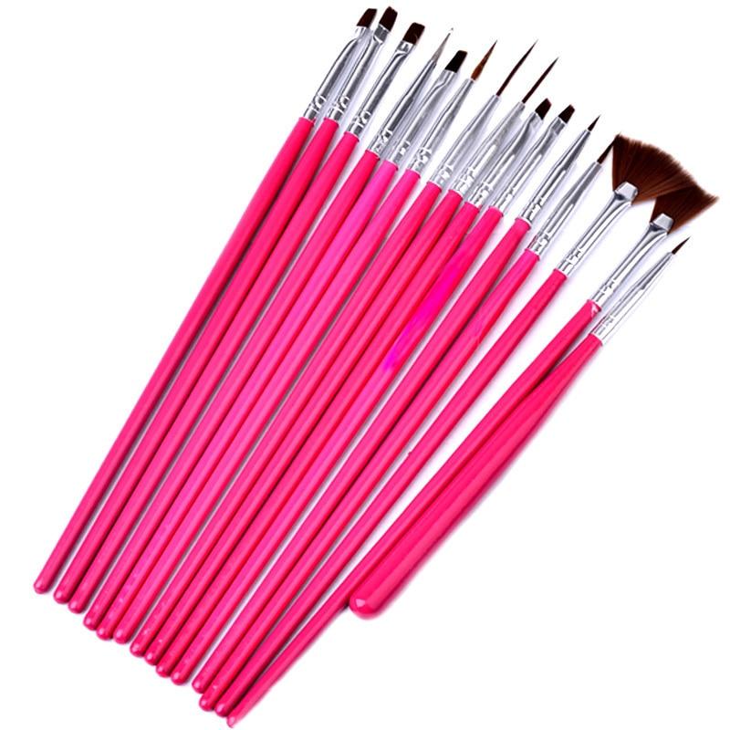 15 unids Profesional UV Gel Acrílico Nail Art Brush Set Diseño Gel - Arte de uñas - foto 3