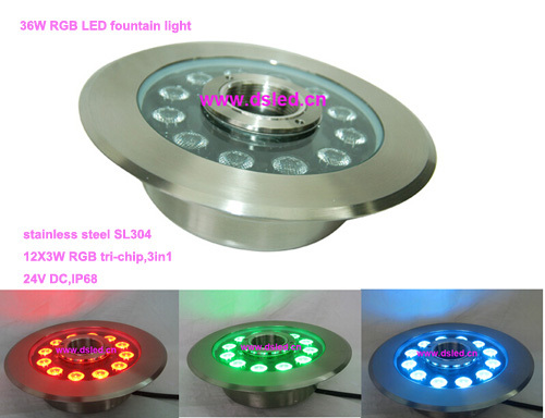 Free shipping by DHL !! IP68,36W RGB LED fountain light,RGB LED pool light,24V DC,DS-10-49-36W-RGB,stainless steel SL304 free shipping by dhl high power 18w rgb led fountain light rgb led pool light ip68 24v dc ds 10 27 18w rgb 2 year warranty