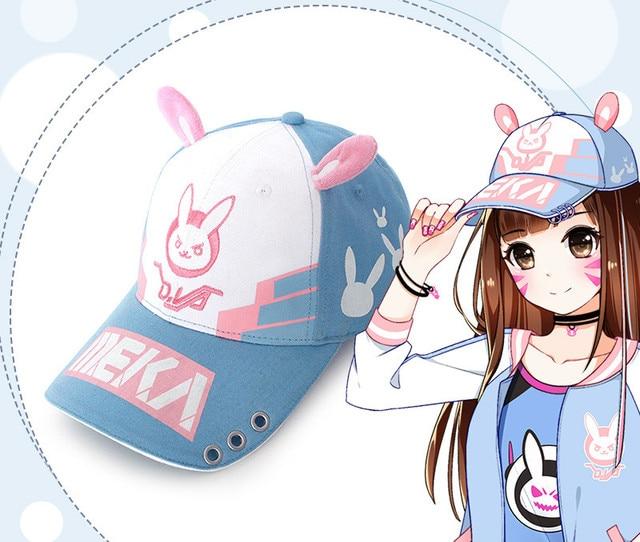 Top Quality Canvas OW D.VA Hana Song Rabbit Snapback Hat Cute Adjustable  Cosplay Baseball Cap f6c63f5f0b90