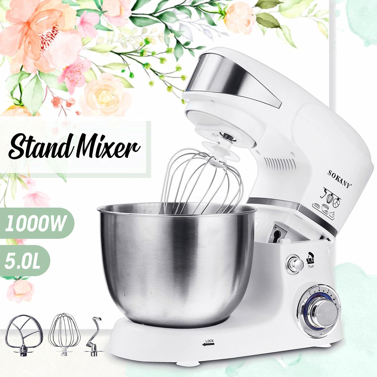 Nouveau 5L électrique mélangeur de nourriture 1000 W 6 vitesses en acier inoxydable bol oeuf fouet-mélangeur mélangeur de pâte fabricant Machine cuisine outils de cuisson