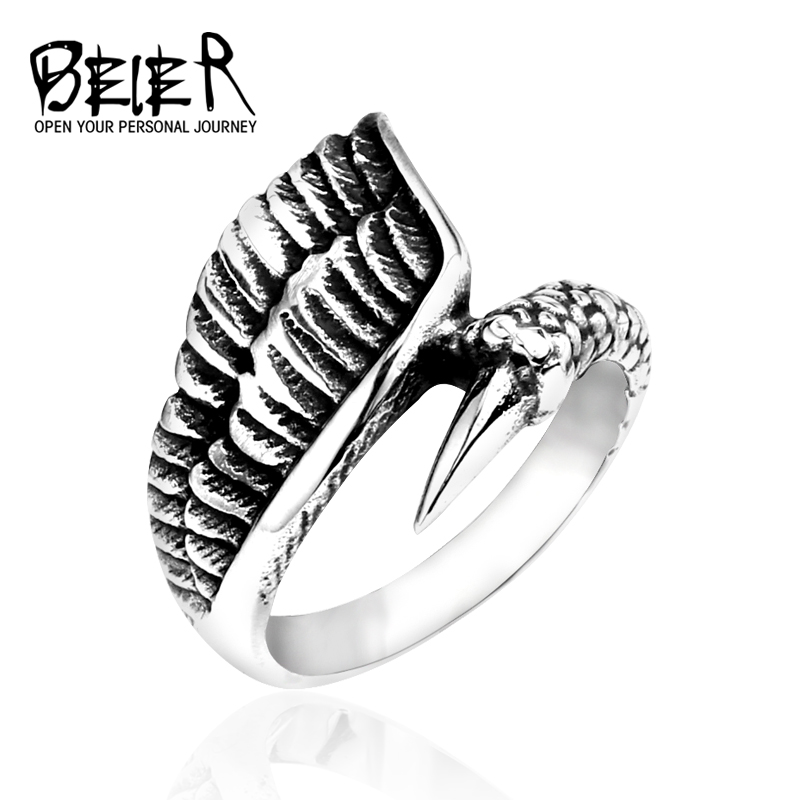 beier new store 316L Stainless Steel ring high quality for women and men dragon claw fashion jewelry BR8-011