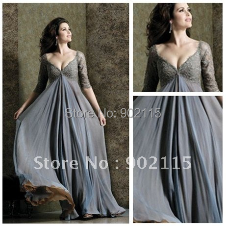 Free Shipping Elegant V-Neck Custom Made Chiffon Evening Dress With Sleeves