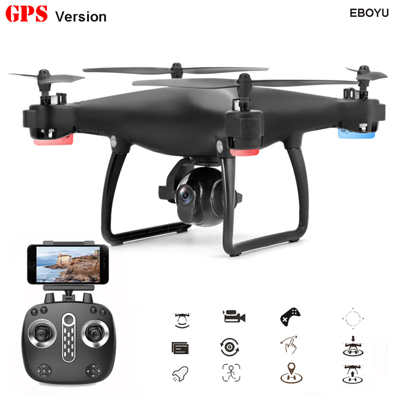 EBOYU LH-X25GWF Dual GPS FPV 2.4G 4CH RC Quadcopter Drone with Follow me 720P HD Camera Wifi Headless Mode RC Drone RTF