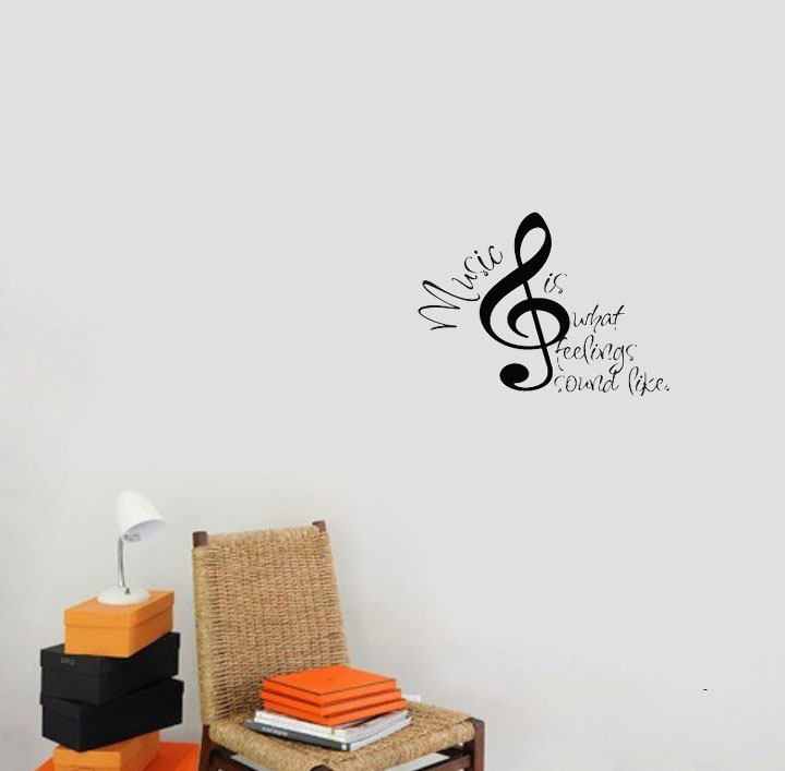 Music Is What Feelings Sound Like Quote Vinyl Home Decor Wall Decal Note Art Sticker In Stickers From Garden On Aliexpress