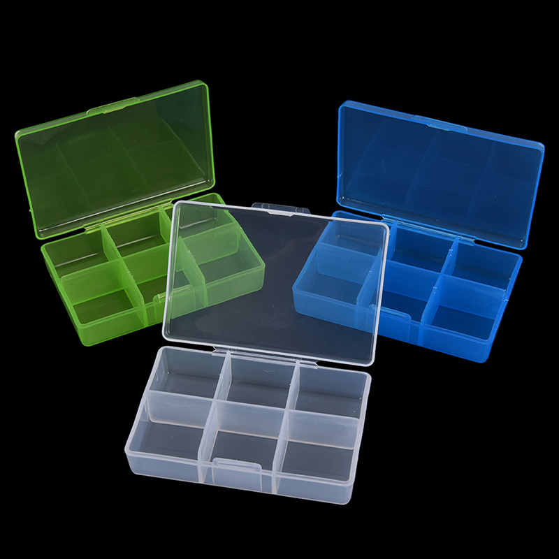 Plastic 6 Compartment Pill Box Container for Medicine Pill Medicine Pill Case Box Organizer Case Random Color