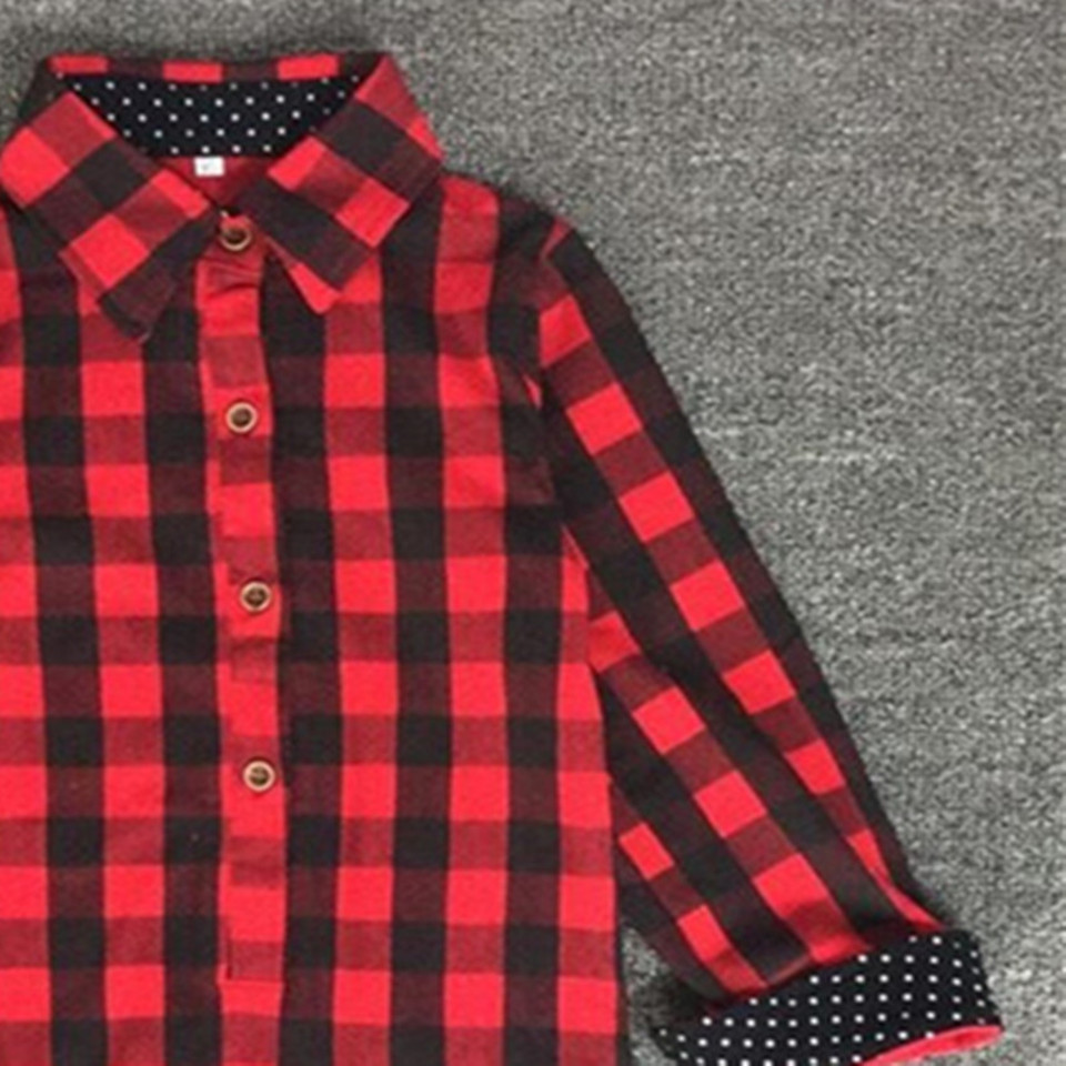 Baby Girls Boys Christmas Long Sleeve Shirt Girl Red Plaid Tops Kids - Children's Clothing - Photo 4