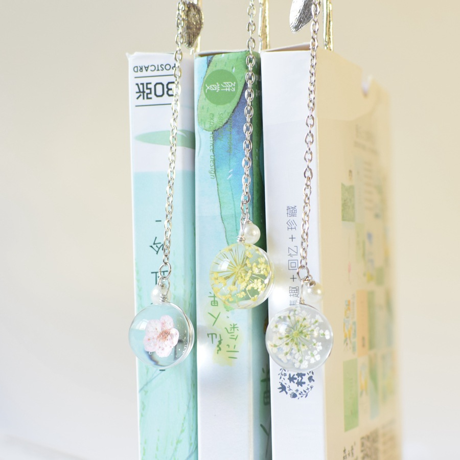Creative Flower Specimens Bookmark Pendant Metal Book Mark Stationery School Office Supply Escolar Papelaria