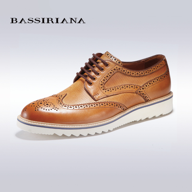 BASSIRIANA fashion genuine leather for men, round toe, lace up dress ...