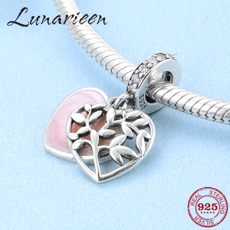 Tree Of Life Made With Love Heart Charms For Jewelry Making Fit Pandora Enamel Charms Silver 925 Original Bracelet Pendants
