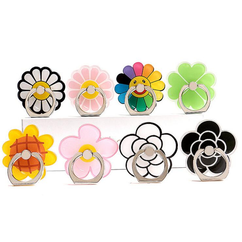 360 Degree Crystal Ring Buckle Mobile Phone Holder Cartoon Small Fresh Flower Adhesive Tape Metal Ring For Iphone IPod