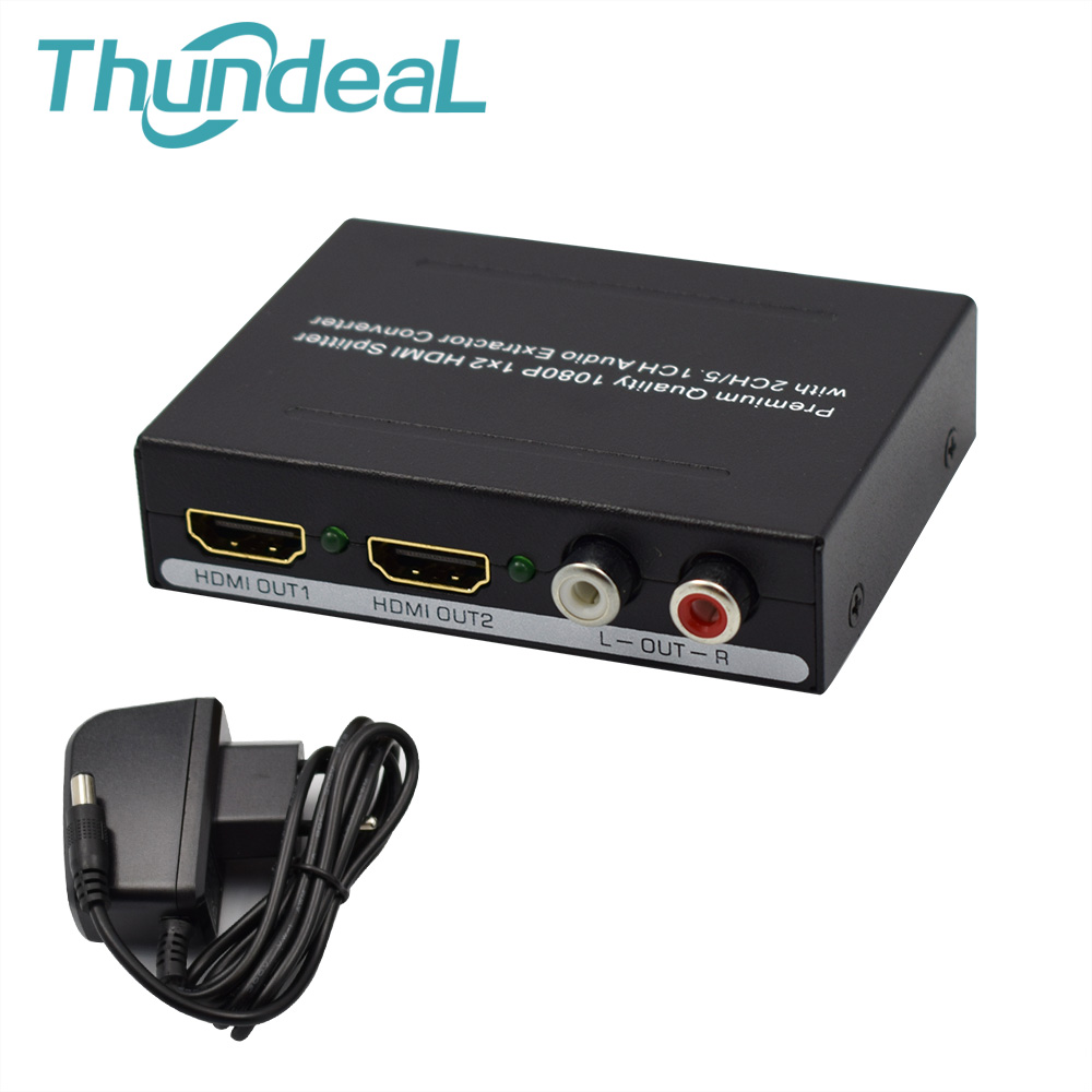 2 Ports 1080P 1x2 HDMI Splitter 2CH/5.1CH Spdif Toslink+L/R Audio Extractor Converter for XBOX PS3 PS4 Smart HD HDMI Splitter 1x2 hdmi splitter extender 2 port hdmi audio video v1 3b 1080p splitter adapter for hd tv ps3 3d display hdmi splitter extender