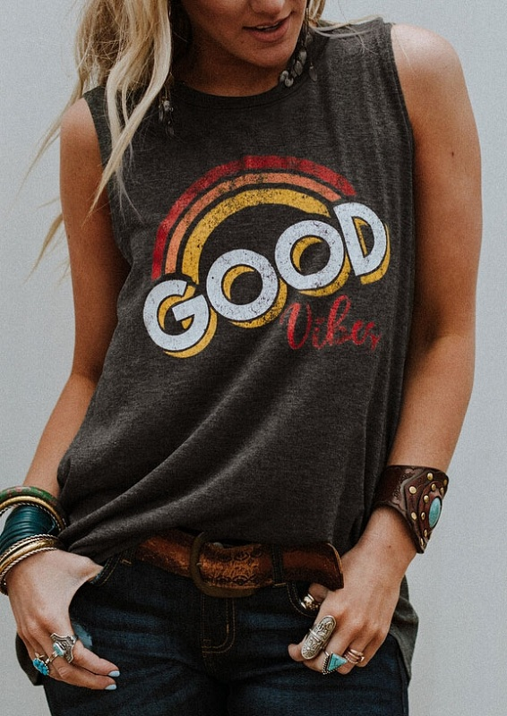 New Women Tank Tops Good Vibes O Neck Tank 2018 Summer Sleeveless Female White Casual Tank Tops Fashion Femme Ladies Tops Tee-in Tank Tops from Women's Clothing