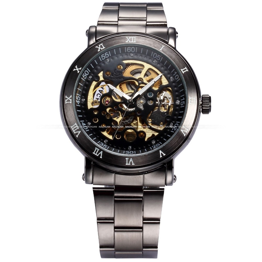 4596ee076c4 Fashion Male Clock Relogios Skeleton Watches Men Luxury Brand Montre Homme  Full Steel Wristwatch Men Automatic Watch   PMW210-in Mechanical Watches  from ...