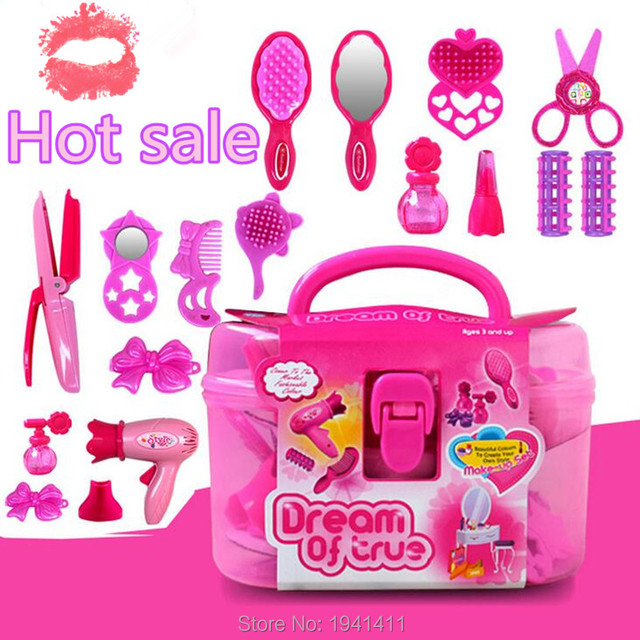 Bon (18 Pieces/set) Children Simulation Beauty Salon Toys Suit Pink Girls  Simulation Dressing