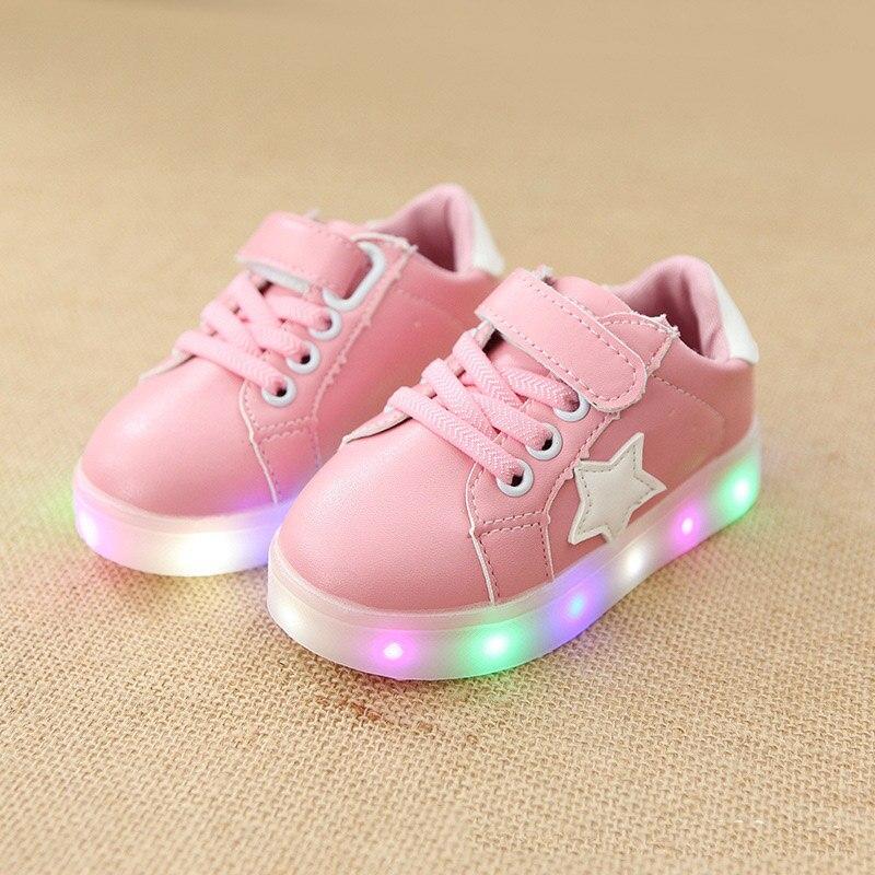 2018 Hook^Loop unisex girls boys sneakers LED lighting hook&Loop children footwear Patchwork baby glowing fashion kids shoes horrows блэк джек