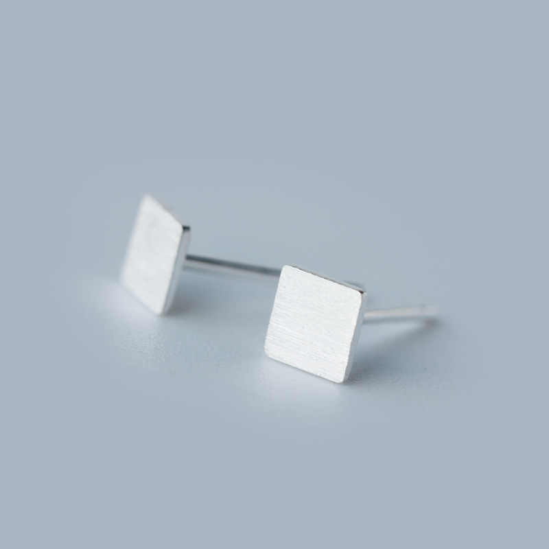 925 Sterling Silver Square Stud Earrings For Women Christmas Gift Jewelry Prevent Allergy pendientes boucles d'oreilles A052