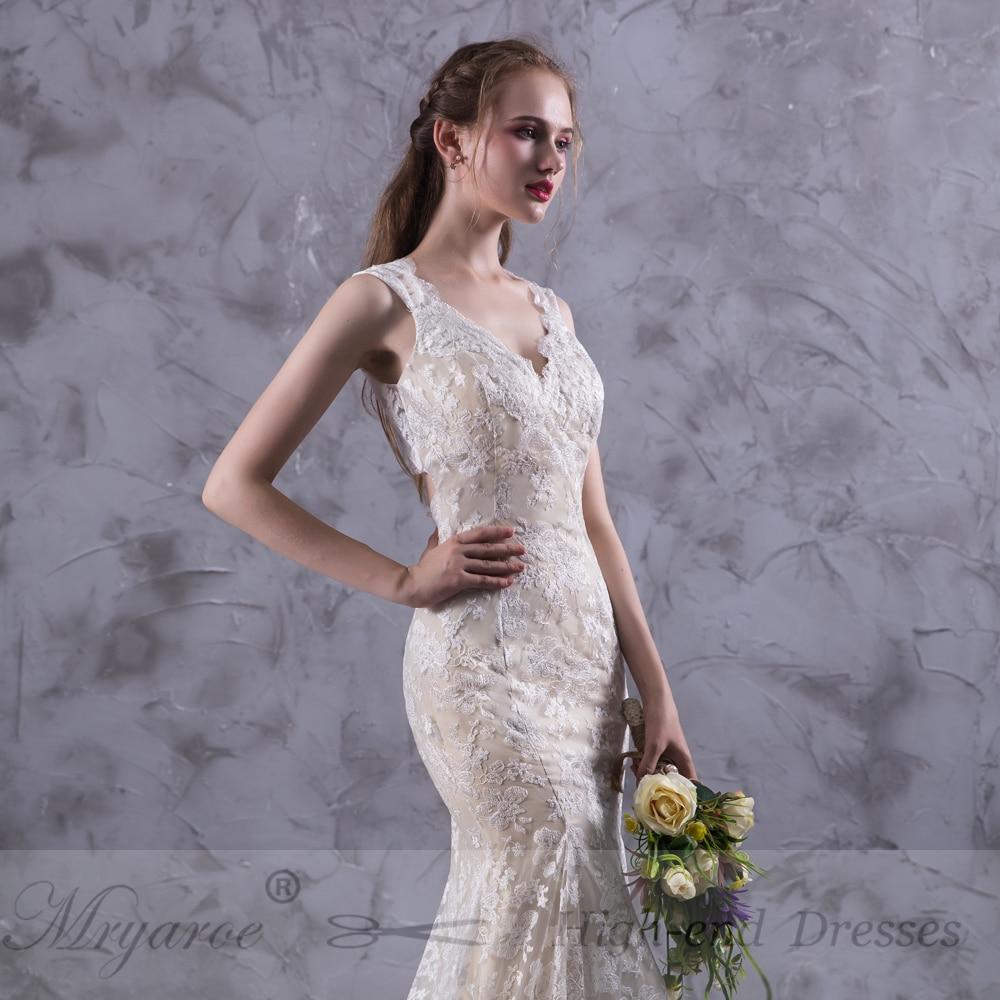 Mryarce vestido de novia Keyhole Back Lace Mermaid Wedding Dresses ...
