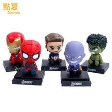 DIANXIA 13CM Anime Avenger Spider Iron Man Thanos Car Decoration Shaking His Head Doll Phone Bracket Action Figure Toy DX001