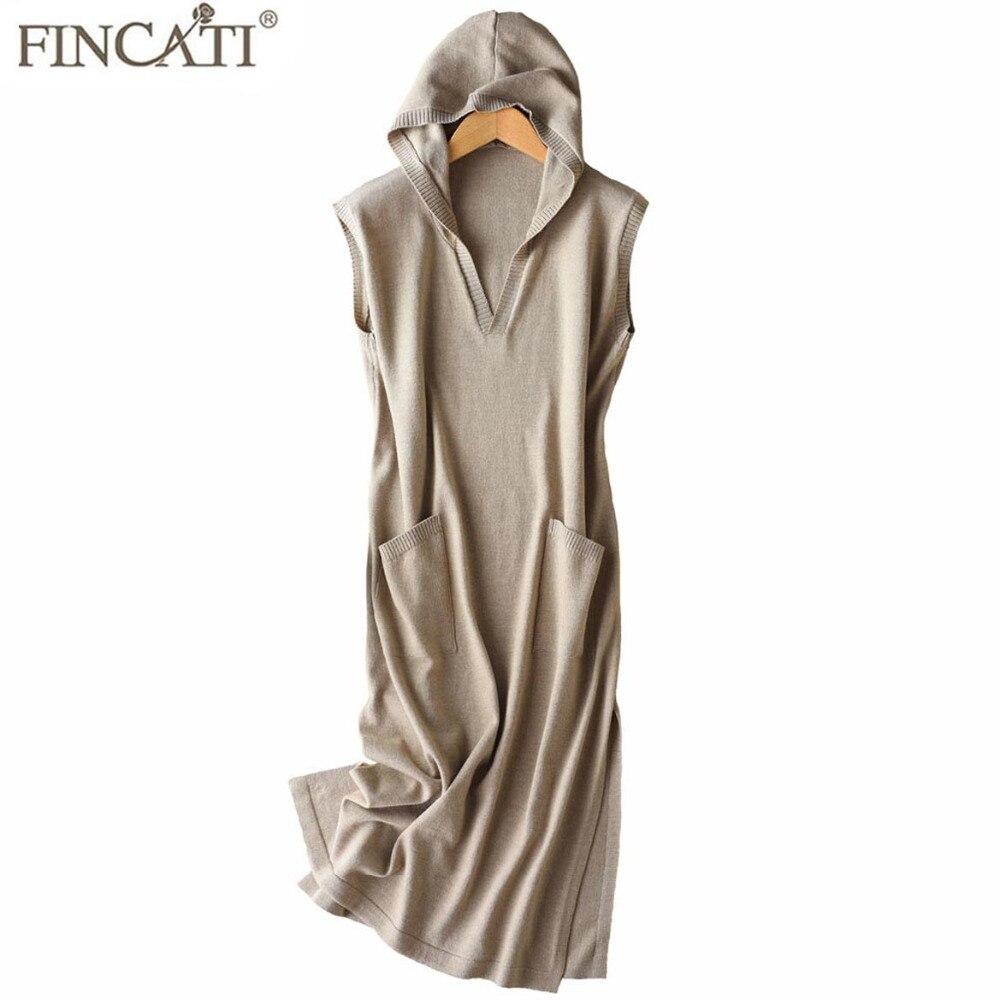 Hooded Dress Women 2018 Newest Spring Summer Sleeveless Casual Knee Length With Pockets Sweater Dresses Vestidos de Festa