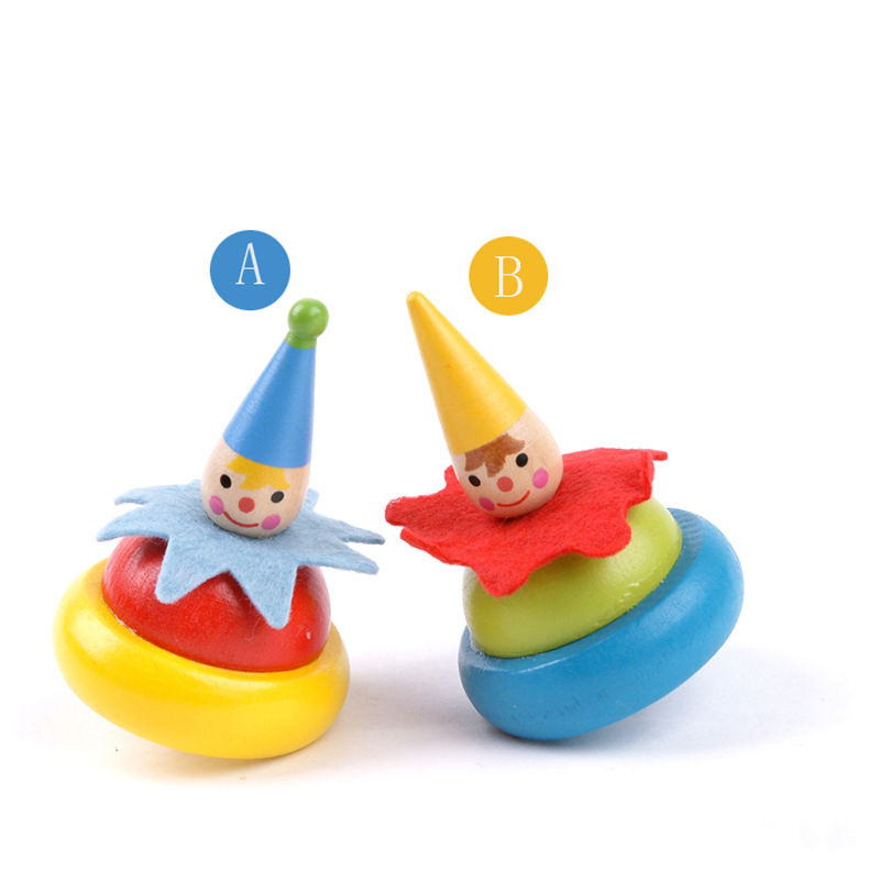 5PCs  kids wooden clown spinning tops, Children classic toys / colorful wood clown tops, 1pc/pack,