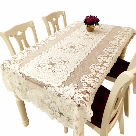 White Floral Lace Table Linen Table Runner Oversize Hollow Out Table  Covering Cloth Concise Tablecloth