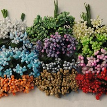144PCS,2CM Artificial Foam Fake Glass Flower Stamens With Leaves,Scrapbooking AccessoriesWedding Decorations For Garland Hair,