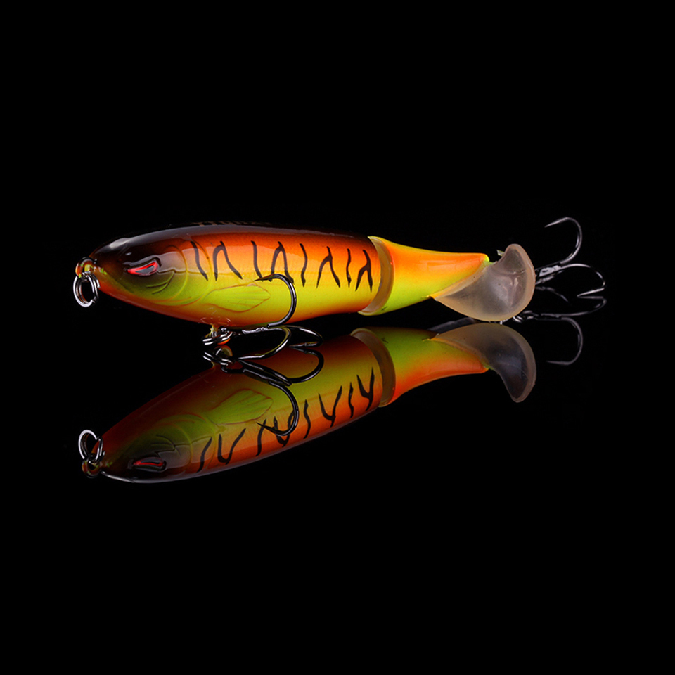 WALK FISH 1PCS Whopper Plopper 100mm 13.2g Artificial Topwater Fishing Lure Rotating Tail Wobblers Professional Pesca Isca