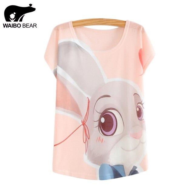 Waibo oso zootopia nuevo 2016 mujer camisetas camiseta del verano superior delgada conejo lindo estilo de Judy imprimir alas de murciélago de manga mujeres camisetas