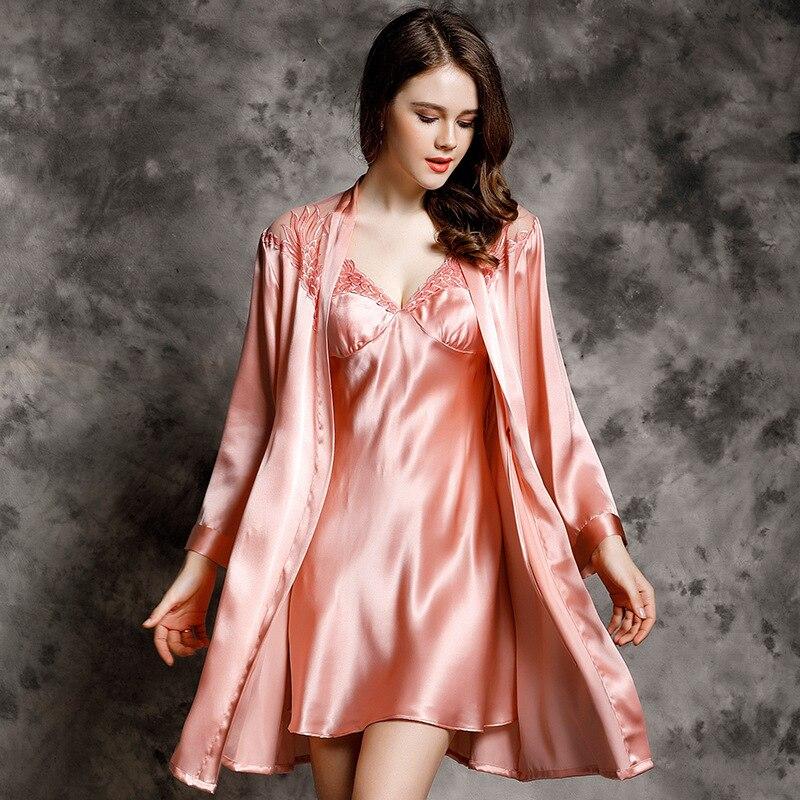 Сексуальная кружевная Женская шелковая ночная рубашка, халат, комплект из двух предметов, 100% шелк тутового цвета, спальный халат с длинными
