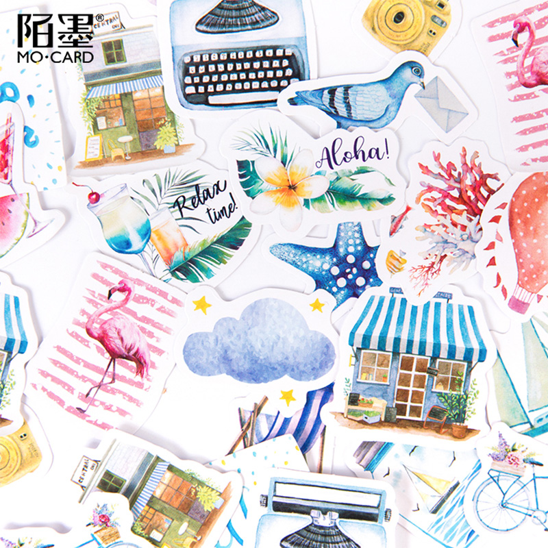 46 Pcs/lot Momo Beach Scenery Coconut Beach Paper Sticker Decoration Stickers DIY Ablum Diary Scrapbooking Label Sticker