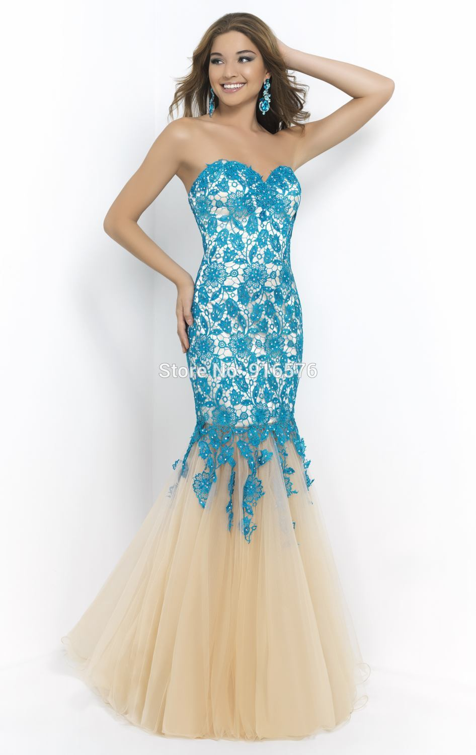 Vestido Social Longo Black And Champagne Lace Prom Gowns Mermaid ...