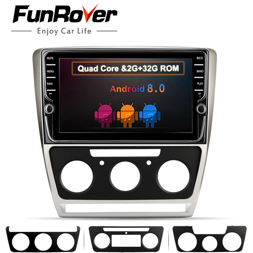 Funrover 9 ''Android 8,0 2 din автомобильный Dvd мультимедийный плеер навигации Аудио Радио для Skoda Octavia 2008 2013 5 A5 Yeti Fabia