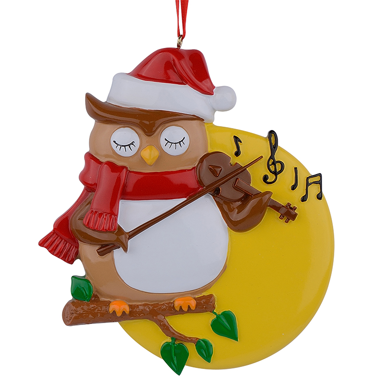 Resin Glossy Violin Owl Personalized Christmas Ornaments