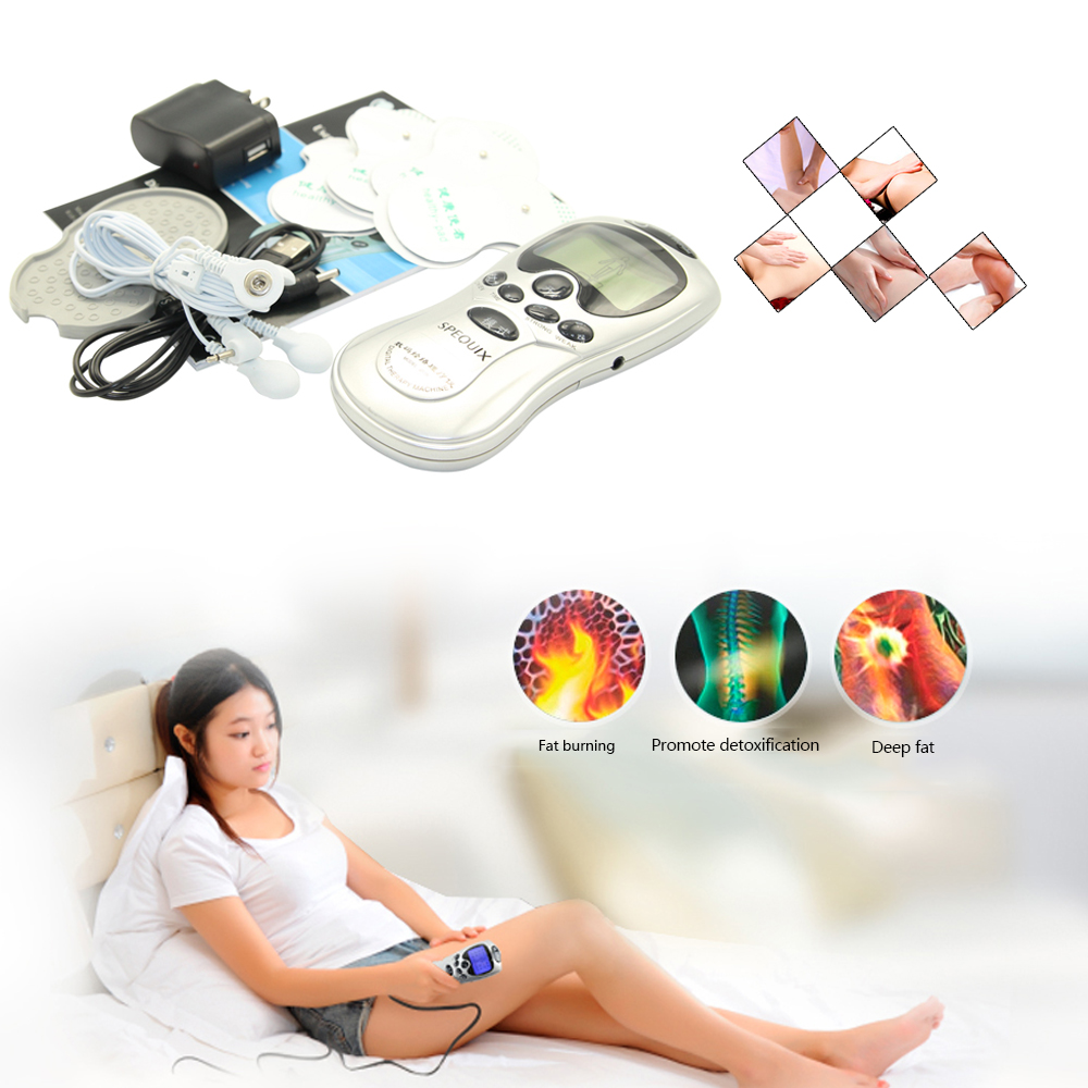 4 Electrode Tens Acupuncture Electric Therapy Massageador Machine Pulse Body Slimming Sculptor Massager Apparatus Body Care 4 electrode health care tens acupuncture electric blue lcd digital therapy machine pulse body slim sculptor massager apparatus